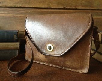 Brown Leather Handbag, Small Satchel, Made in England, Chestnut Brown Bag