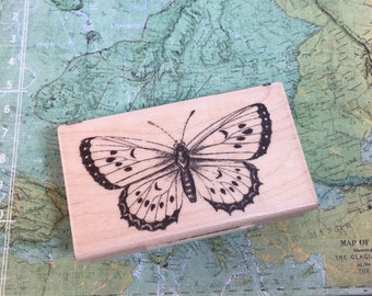 BUTTERFLY Rubber Stamp by INKADINKADO / NEW Vintage Style Butterfly Rubber Stamp for Tags, Cards, Journals, scrapbooking, etc