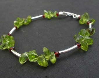 Natural Gemstone Peridot Faceted 7x5mm Oval  -Red Garnet Gemstone Faceted 3mm Rondelle - 925 Sterling Silver Tube Bracelet