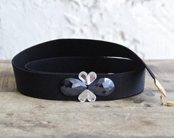 Waist belt for dress, black elastic belt, navy and silver belt, elastic waist belt, gown dress belt, plus size belt, embellished blue belt
