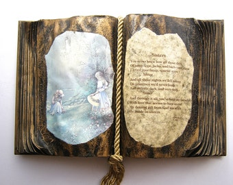 "Altered Book, Dedication ""To My Sister"", Decorative Decoupageed Book, Wedding Gift, Old Reader Digest"