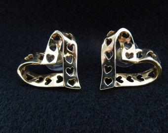 Vintage Avon Earrings, Gold Tone Hearts, Post Style for Pierced Ears.  Excellent Condition