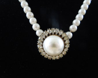 Vintage Pearl Necklace, Central Feature of Large Faux Pearl Surrounded by Rhinestones.  Nice