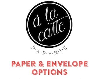 Paper & Envelope Opitons and Description - DO NOT buy this listing, please - A la Carte Paperie