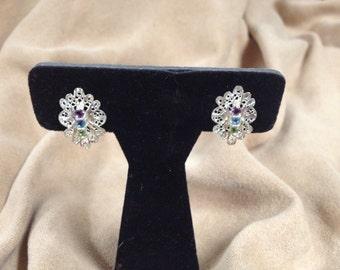 Vintage 925 Sterling Silver Purple, Blue ,and Green Gemstone Earrings