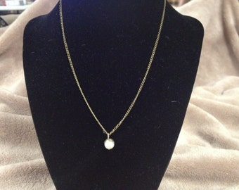Vintage Goldtone Necklace with Faux Pearl Pendant, Length 16''
