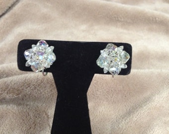 Vintage Aurora Borealis Clip On Earrings