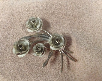 Vintage Costume Bouquet of Roses Pin/Brooch, 2'' Long, 1 1/2'' Wide