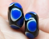 Lampwork earring pair in black with white and blue dots