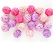 Crochet beads, 20pcs 18mm (0.71 inch) Handmade round crochet beads (58)