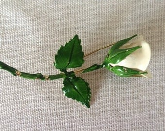 Shabby Chic Pin; White Rose Enamel Brooch, Vintage Mid Century Flower Pin