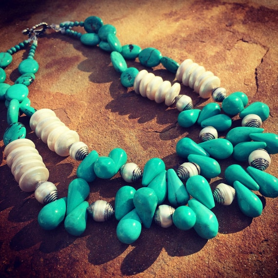 Multistrand Turquoise with Freshwater Pearls Boho Statement Necklace and Earring Set