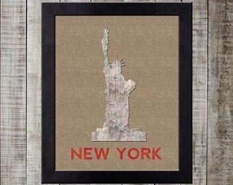 New York City World Landmark Print - Statue of Liberty