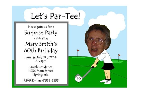 Golf Themed Funny Unique Retirement Invitation or 30th 40th