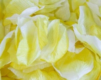 Fabric Rose Petals - Yellow and White (500)