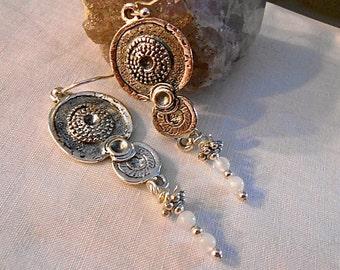 Moonstone Chandelier Earrings Tibetan Silver Dangle June Birthstone Neutral Ancient Vibe  Gift