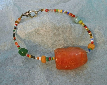 Carnelian Nugget Bracelet Old Toho Beads Old Pony beads Colorful Bohemian Gypsy Inspired Gift Trending colors