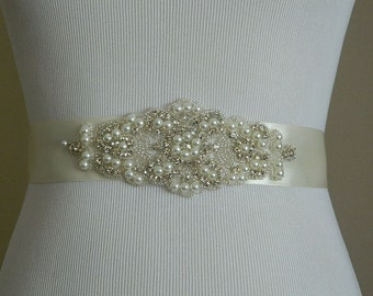 Bridal Sash, Wedding Sash, Rhinestones Pearl Wedding Belt, Crystal Rhinestone Belt, Bridal Sash Belt,