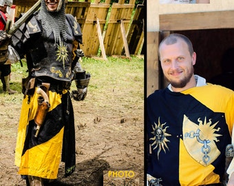 MADE TO ORDER Warrior tabarda two colors Tunic Renaissance Reenactment medieval Larp Sca