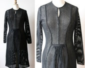 1940's Little black dress, long sleeves, black fishnet