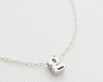 Tiny Silver Initial Necklace - tiny letter necklace - delicate necklace - delicate jewelry - Christmas gift for her // Lower Case