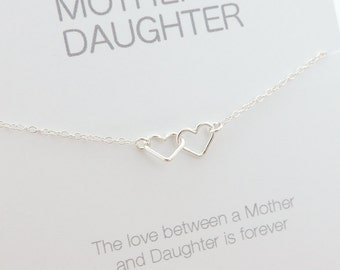 Mother Daughter Jewelry - Mother Daughter Necklace - Entwined Hearts Necklace - Connected Hearts Necklace - Heart Jewelry - Sterling Silver