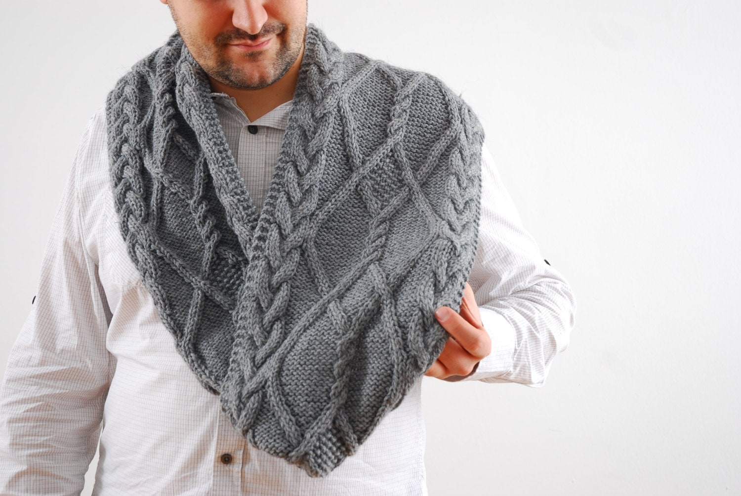 Knitting Mens Scarves : Extra long grey scarf hand knit wool mens cable