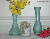 Glass Vases set of 3 Hand Painted in a Shabby Cottage Chic Style