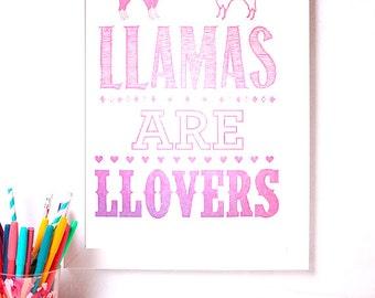 Wall Art Poster - Llama Poster - Llama Art Print - Letterpress Llama Poster - Llamas are Lovers Poster