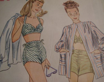Vintage 1950's Simplicity 1612 Bathing Suit Halter and Beach Coat Sewing Pattern, Size 14, Bust 32
