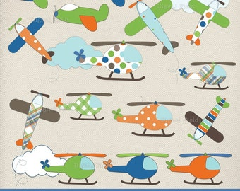 Flying Around Clip Art Set - 22 green, brown, blue and orange printable digital clipart images - instant download