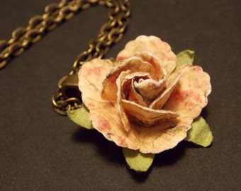 Pink Paper Rose Necklace