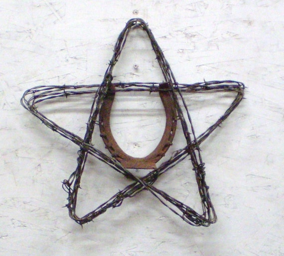 Lucky Horseshoe Barbed Wire Star Rustic Home Decor