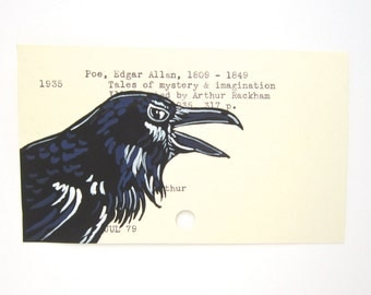 Edgar Allan Poe Library Card Art - Print of my painting of raven on Poe library card