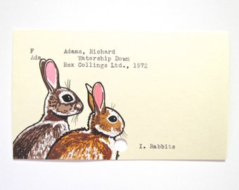 Watership Down Library Card Art - Print of my painting of rabbits on library card catalog card