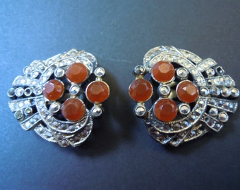Marcasite and Carnelian Dress Clips Vintage