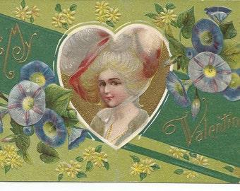 Antique Valentine Embossed Postcard