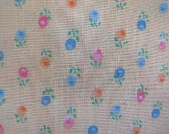 1970's Yellow Calico Fabric, Red Floral Fabric, Calico, Cotton, Flower, Floral, Pink, 1970's Yellow, Blue, Quilters Weight, Apple,