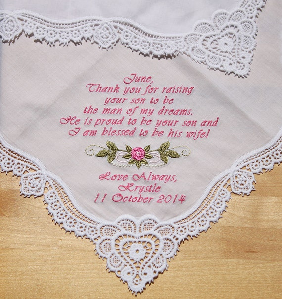 mother of bride wedding handkerchief by embroidered