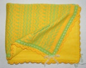 Knitted baby blanket with soft fleece lining.