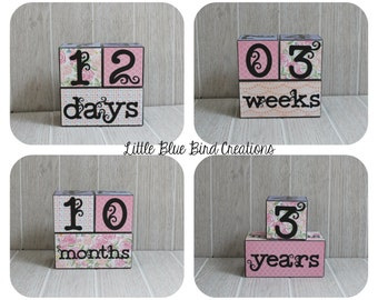 Childrens age blocks - custom wood blocks - photography prop - birthday decor - nursery decor - number blocks