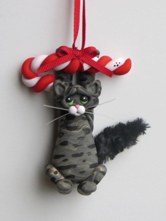 Gray tabby cat christmas ornament polymer clay cute for Cat christmas ornaments craft