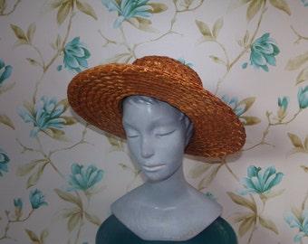 Vintage Real Straw Hat Natural Golden Straw Toffee Bow Hat
