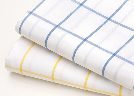 Large check cotton fabric blue or yellow by the yard by landofoh