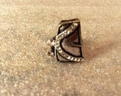 Vintage Abstract Silver Metal Alloy Hand-crafted Ring with White Crystal Accents (size 6.5)
