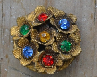 Beautiful edwardian art deco style gold tone flower brooch with multicolor rhinestone pastes / blue / red / green / yellow