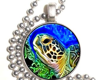 Marine Turtle Art Photo Silver Pendant, Undersea Resin Picture Nickel Coin Charm, Ball Chain Necklace