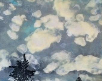 fluid clouds - 10x10 Original encaustic painting peaceful, impressionist, landscape, clouds