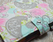 Planner Cover - in Pink and Gray Dove fabric - H2