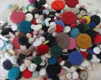crocheted covered buttons lot